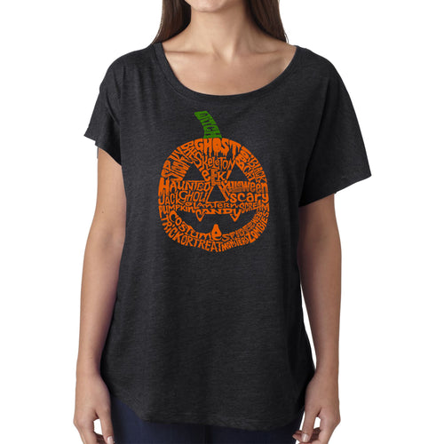 Women's Loose Fit Dolman Cut Word Art Shirt - Halloween Pumpkin