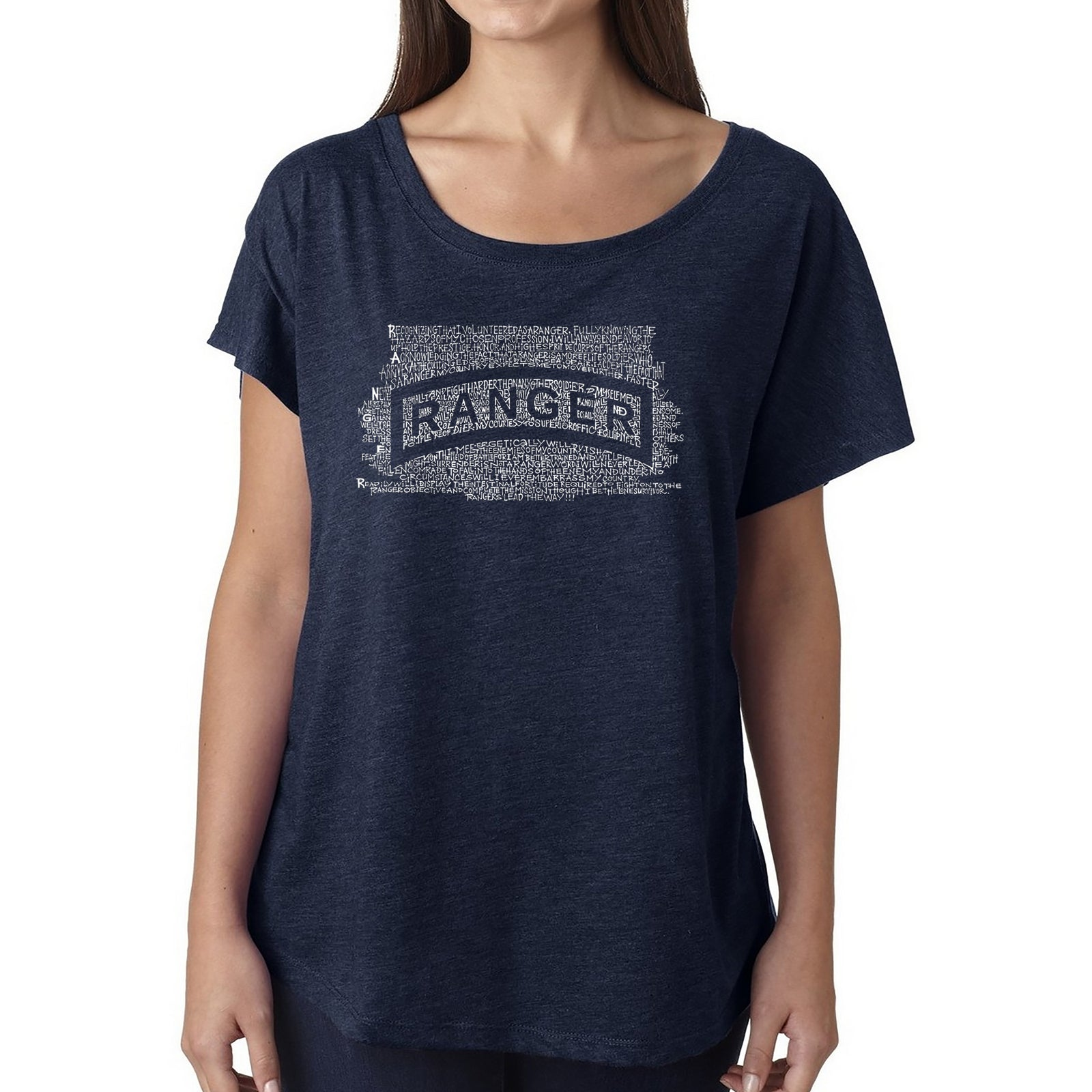 Women's Loose Fit Dolman Cut Word Art Shirt - The US Ranger Creed