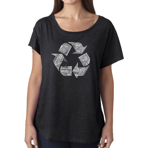 Women's Loose Fit Dolman Cut Word Art Shirt - 86 RECYCLABLE PRODUCTS