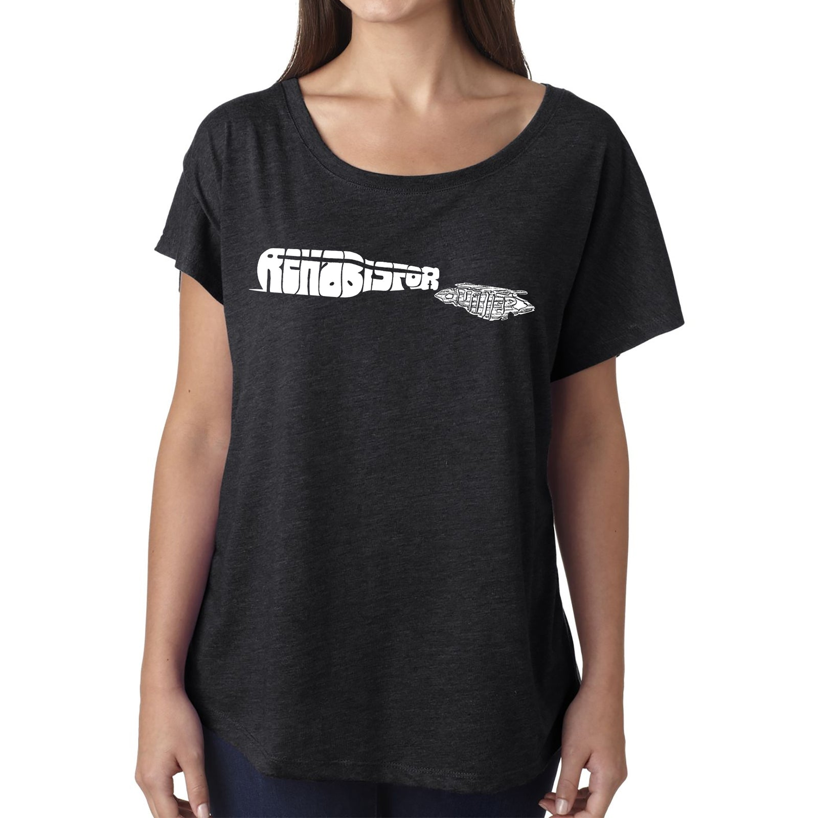 Women's Loose Fit Dolman Cut Word Art Shirt - REHAB IS FOR QUITTERS