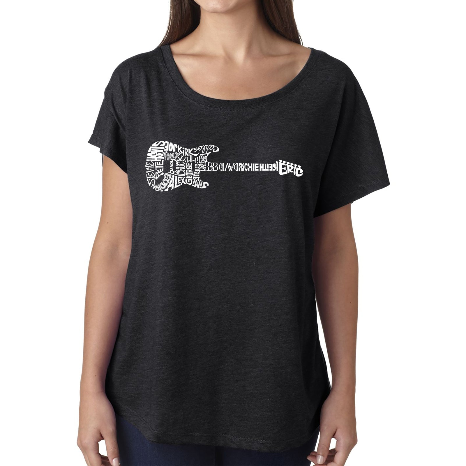 Women's Loose Fit Dolman Cut Word Art Shirt - Rock Guitar
