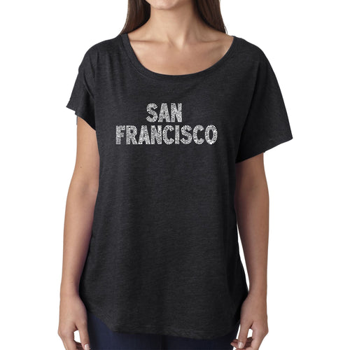 Women's Loose Fit Dolman Cut Word Art Shirt - SAN FRANCISCO NEIGHBORHOODS