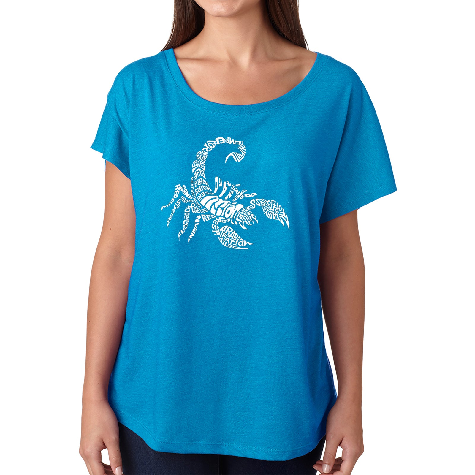 Women's Loose Fit Dolman Cut Word Art Shirt - Types of Scorpions