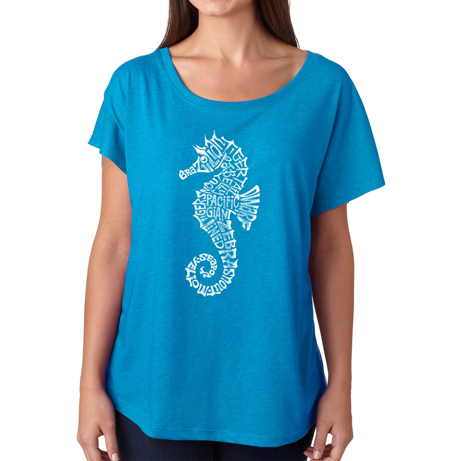 Women's Loose Fit Dolman Cut Word Art Shirt - Types of Seahorse
