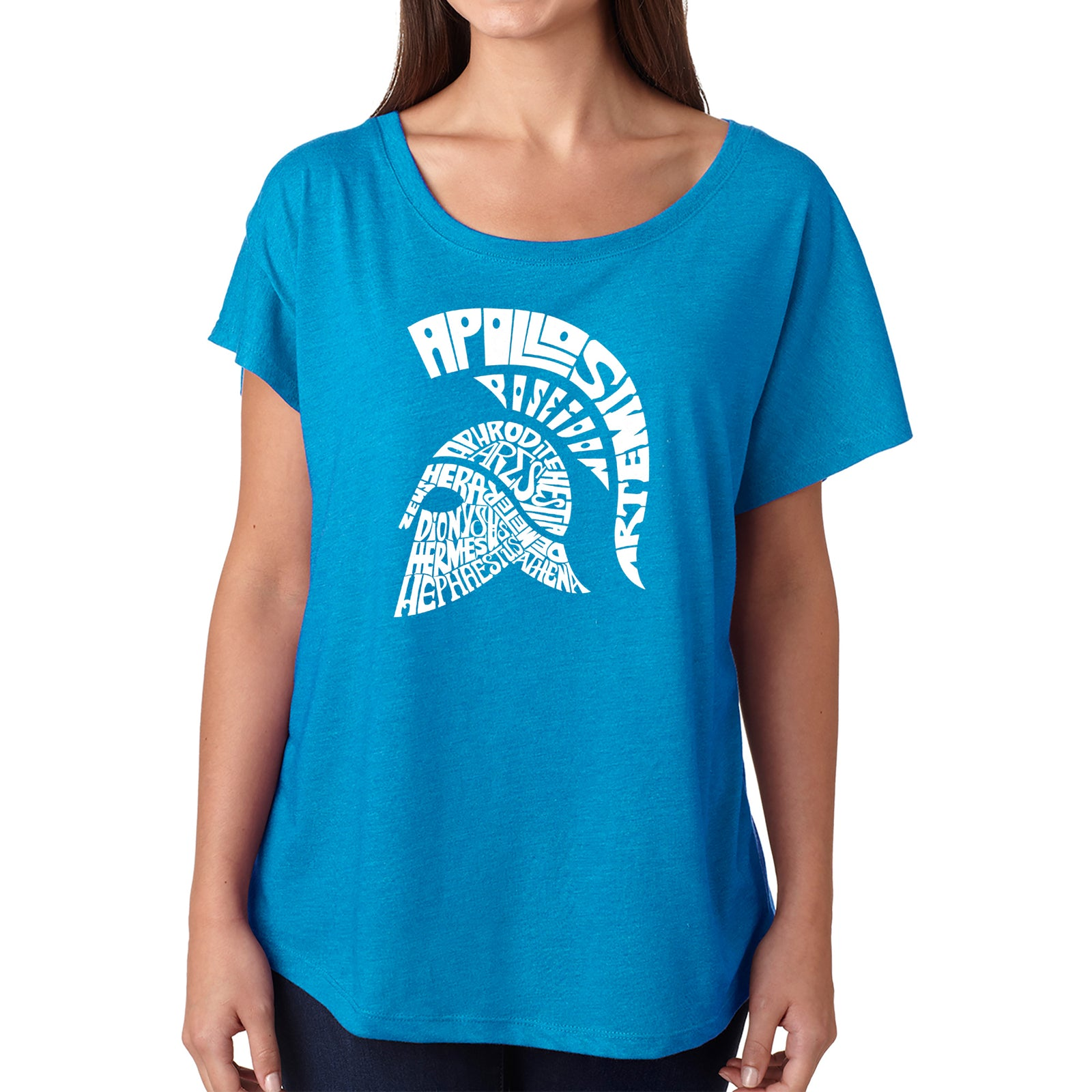 Women's Loose Fit Dolman Cut Word Art Shirt - SPARTAN