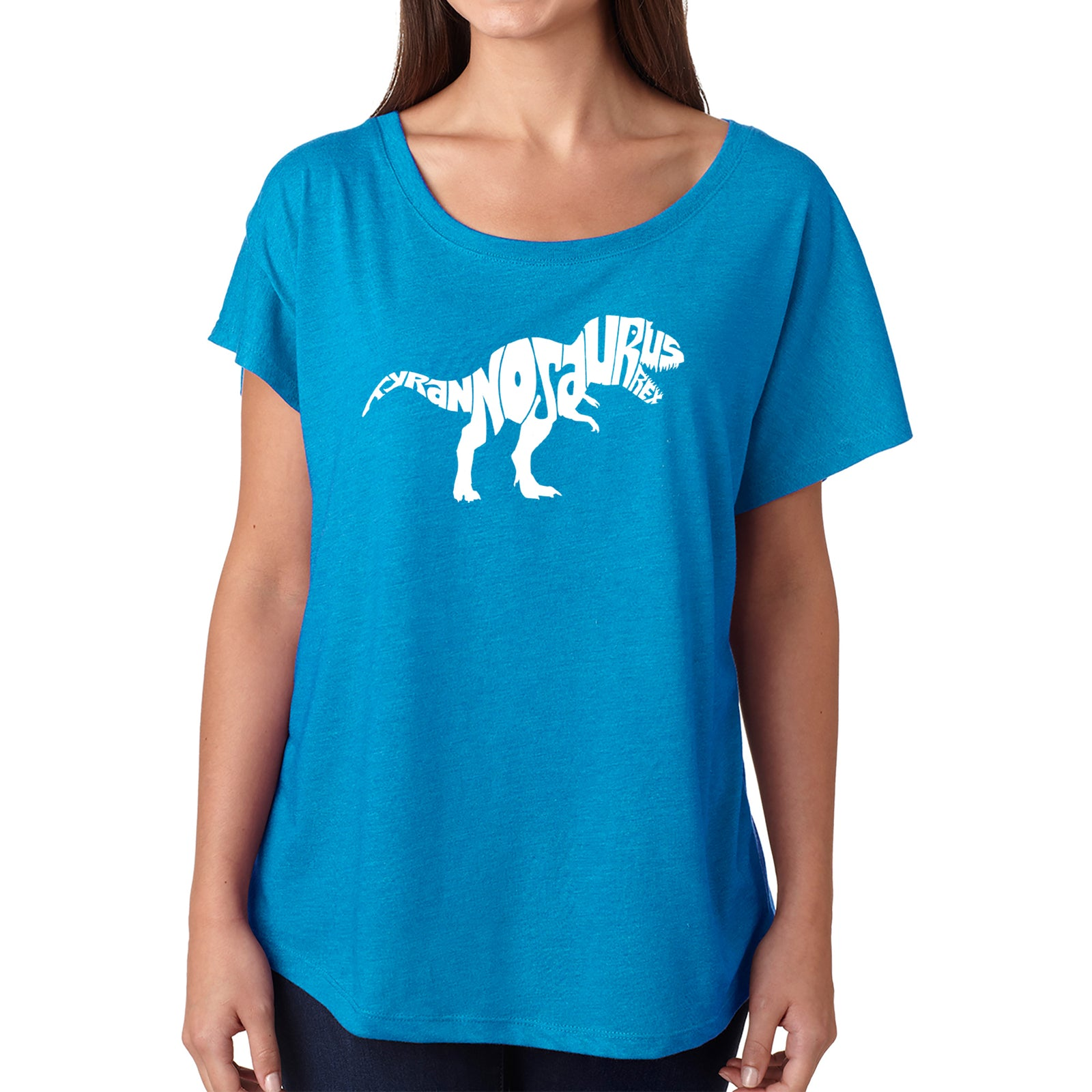 Women's Loose Fit Dolman Cut Word Art Shirt - TYRANNOSAURUS REX