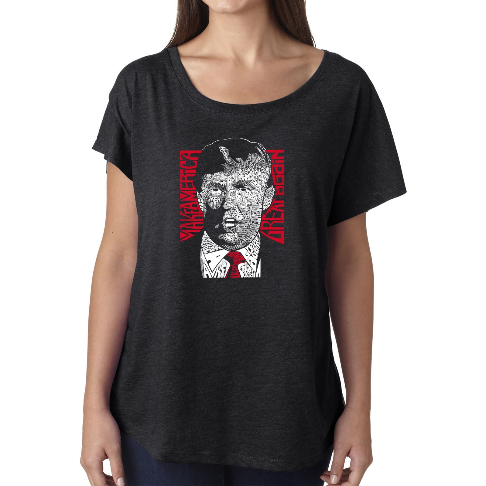 Women's Loose Fit Dolman Cut Word Art Shirt - TRUMP  - Make America Great Again