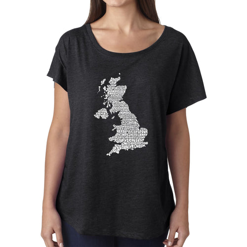 Women's Loose Fit Dolman Cut Word Art Shirt - GOD SAVE THE QUEEN