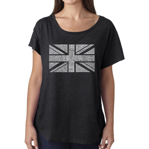 Women's Loose Fit Dolman Cut Word Art Shirt - UNION JACK