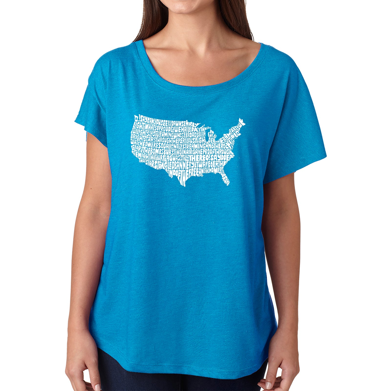 Women's Loose Fit Dolman Cut Word Art Shirt - THE STAR SPANGLED BANNER
