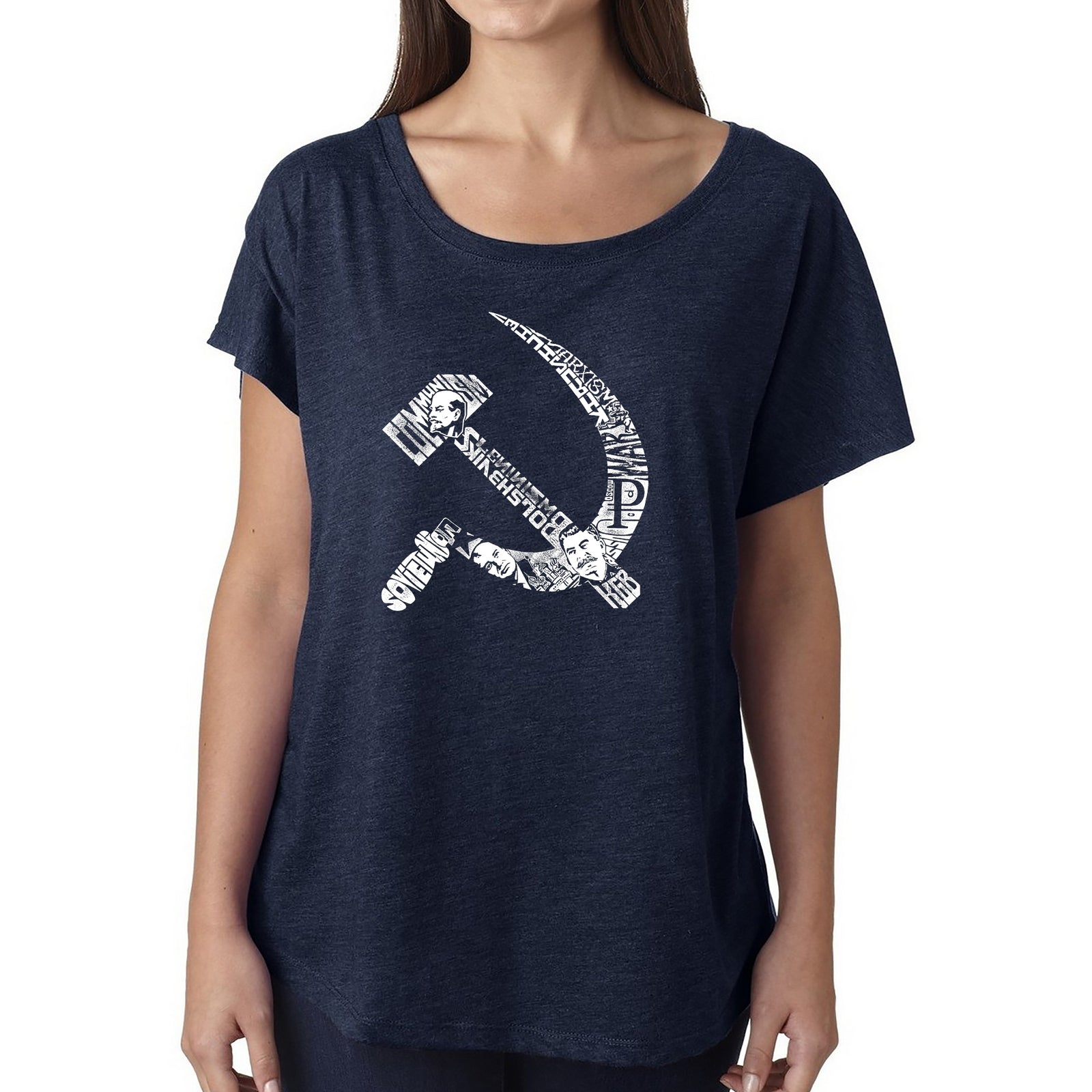 Women's Loose Fit Dolman Cut Word Art Shirt - SOVIET HAMMER AND SICKLE