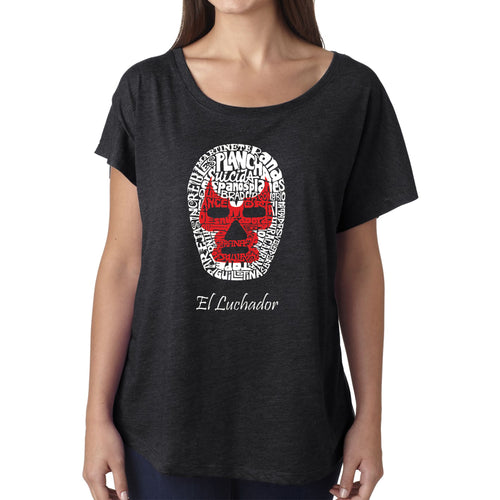 Women's Loose Fit Dolman Cut Word Art Shirt - MEXICAN WRESTLING MASK