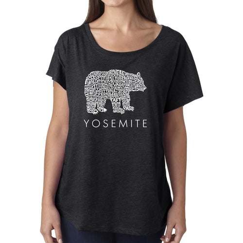 Women's Loose Fit Dolman Cut Word Art Shirt - Yosemite Bear