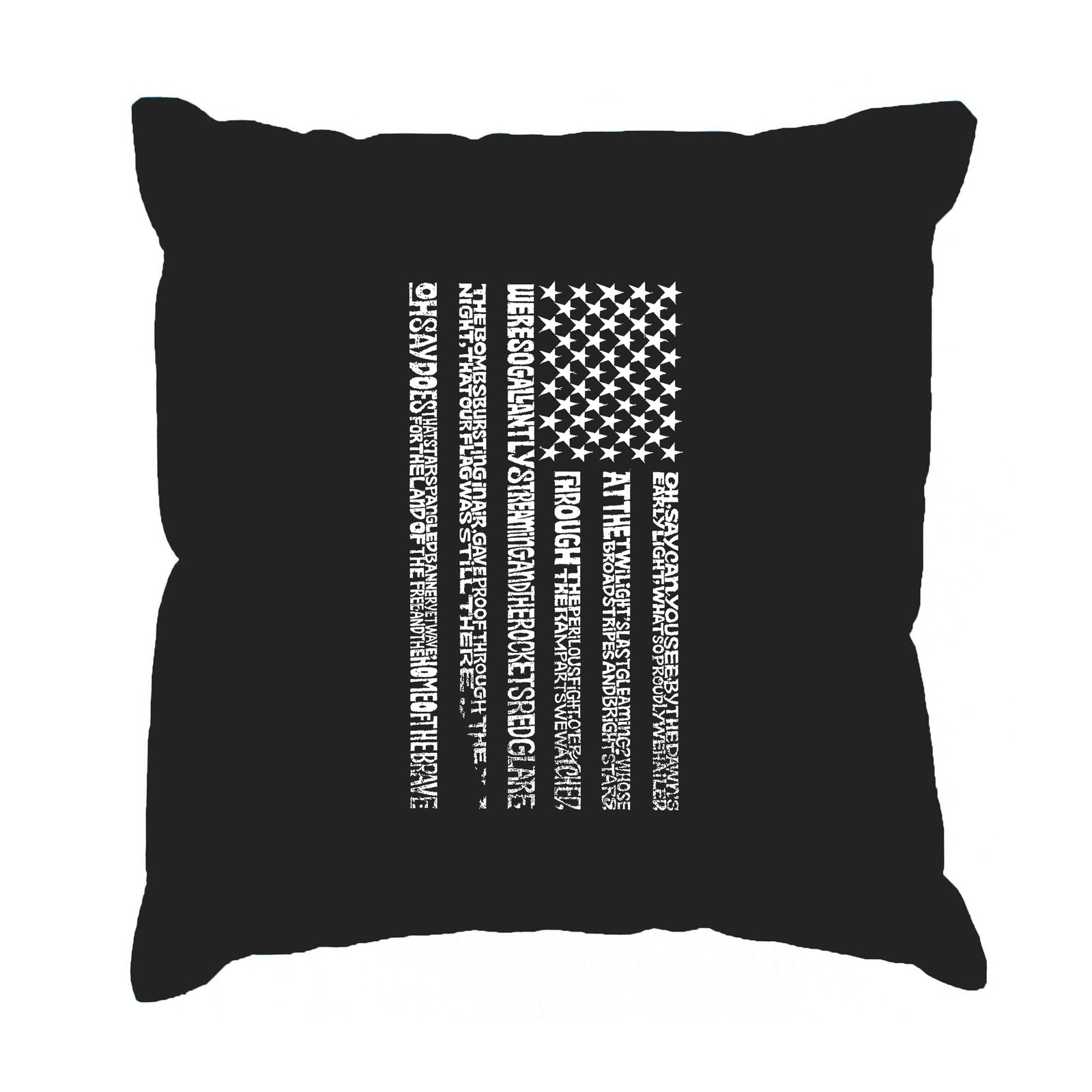Throw Pillow Cover - Word Art - National Anthem Flag