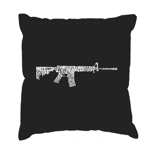 Throw Pillow Cover - AR15 2nd Amendment Word Art