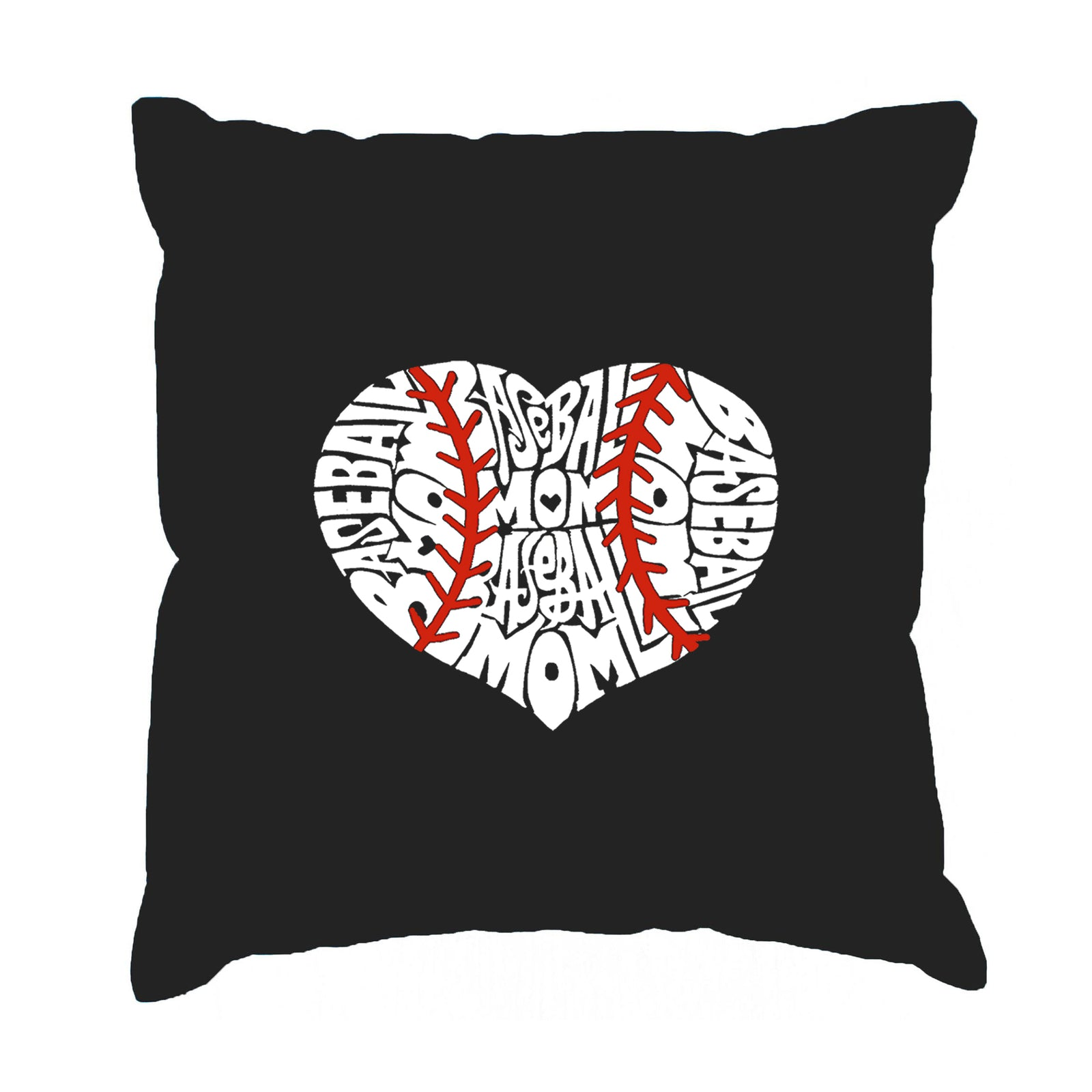 Throw Pillow Cover - Word Art - Baseball Mom