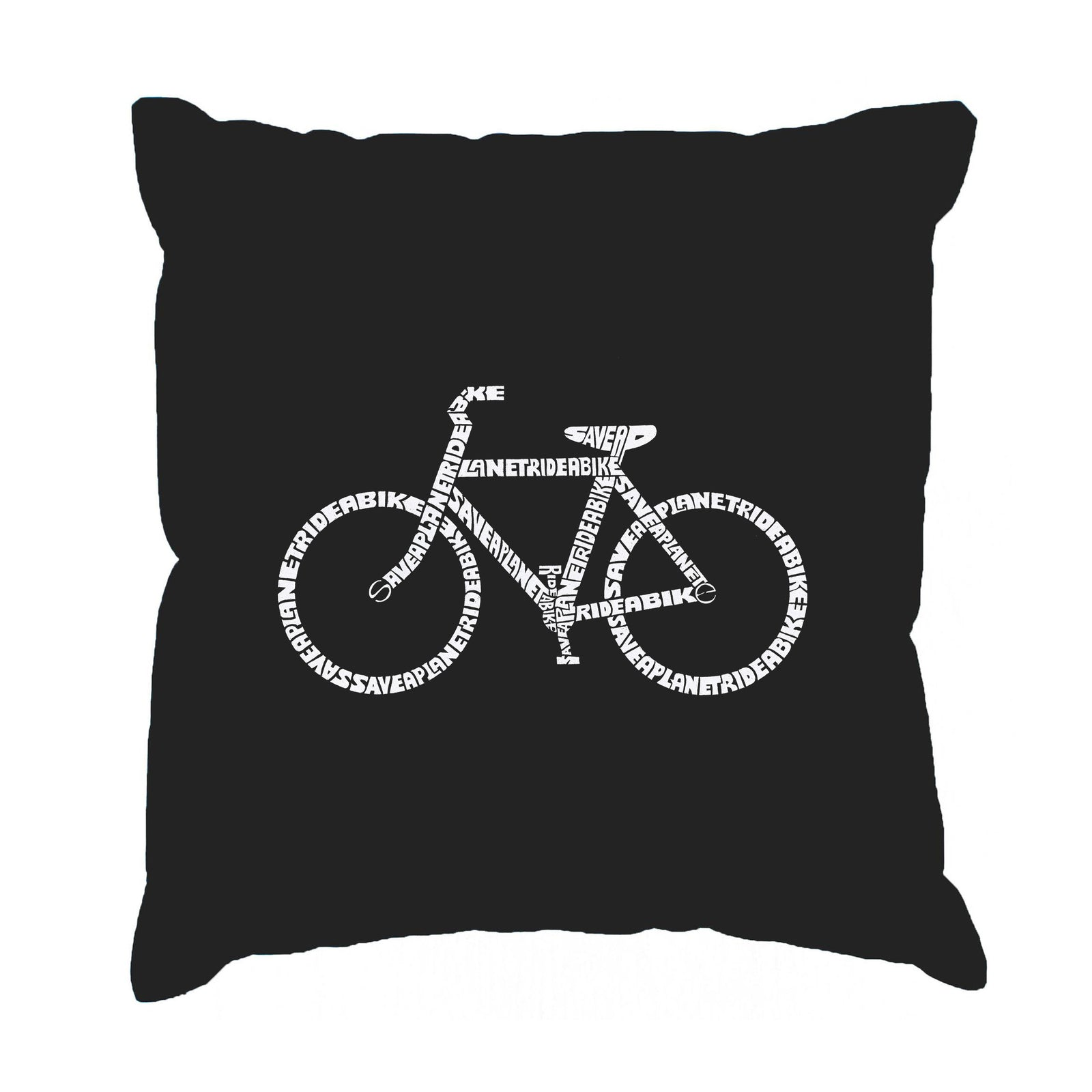 Throw Pillow Cover - SAVE A PLANET, RIDE A BIKE