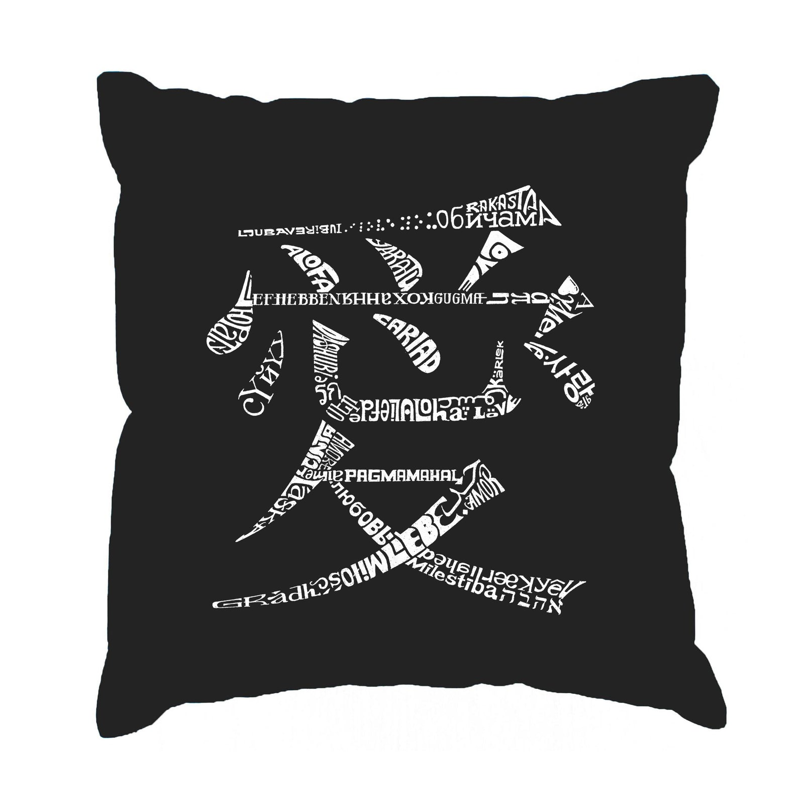 Throw Pillow Cover - The Word Love in 44 Languages