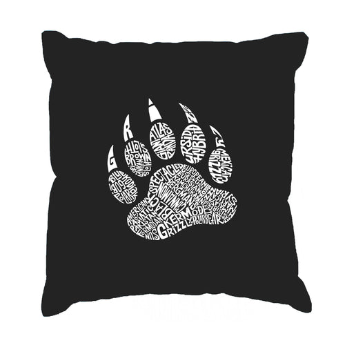 Throw Pillow Cover - Word Art - Types of Bears