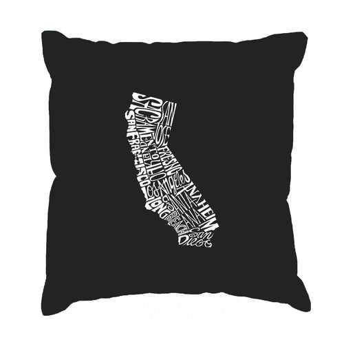 Los Angeles Pop Art Throw Pillow Cover - California State