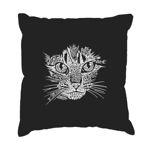 Los Angeles Pop Art Throw Pillow Cover - Cat Face