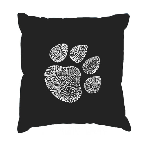 Los Angeles Pop Art Throw Pillow Cover - Cat Paw