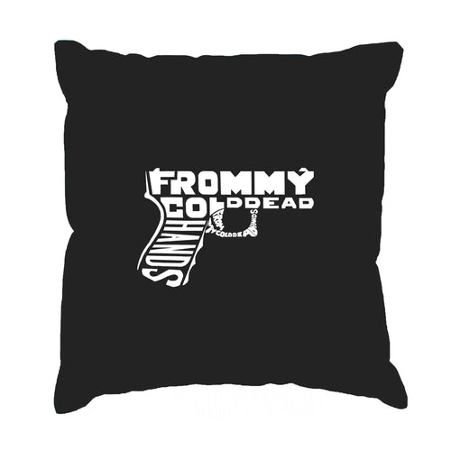 Los Angeles Pop Art Throw Pillow Cover - Out of My cold Dead Hands Gun