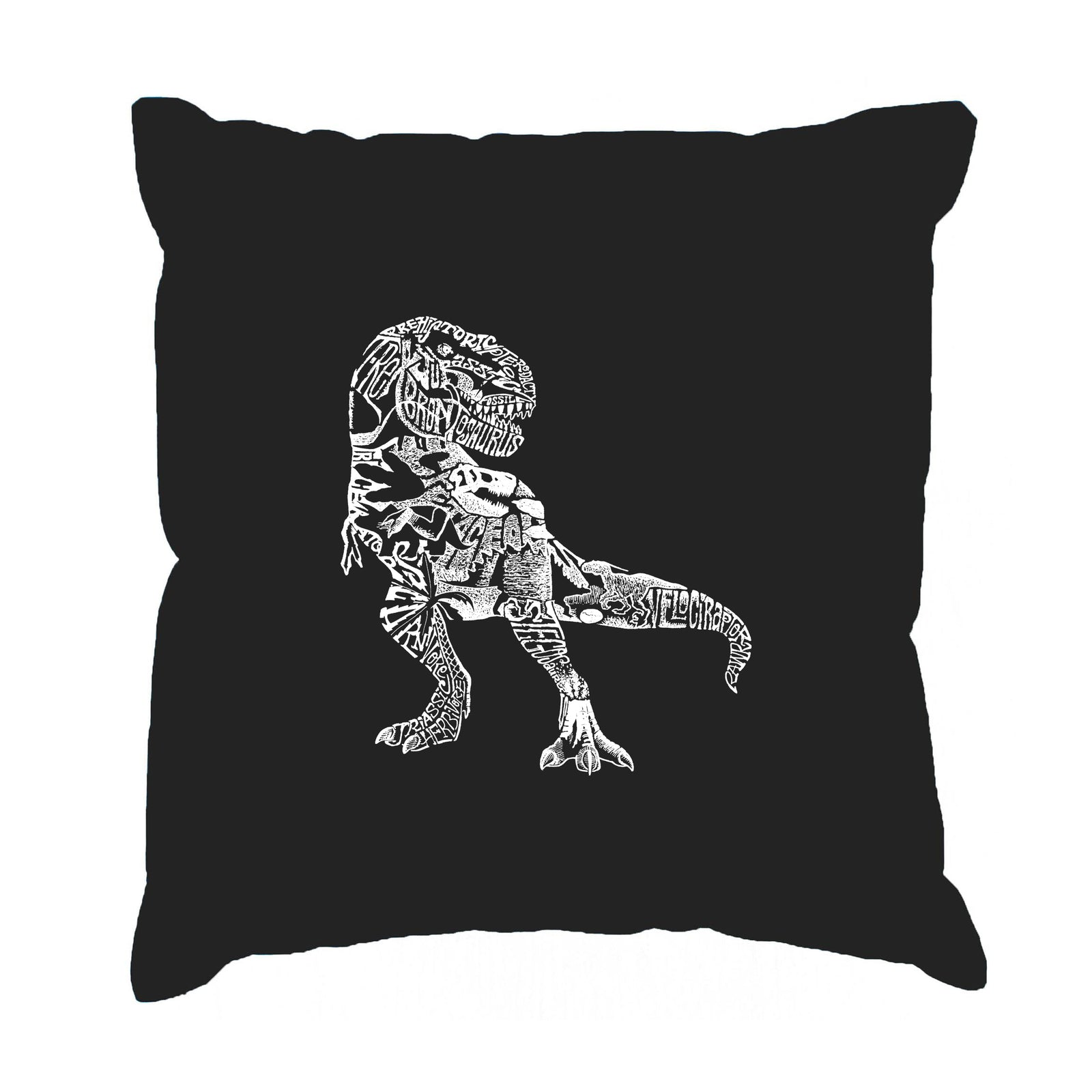 Throw Pillow Cover - Word Art - Dino Pics