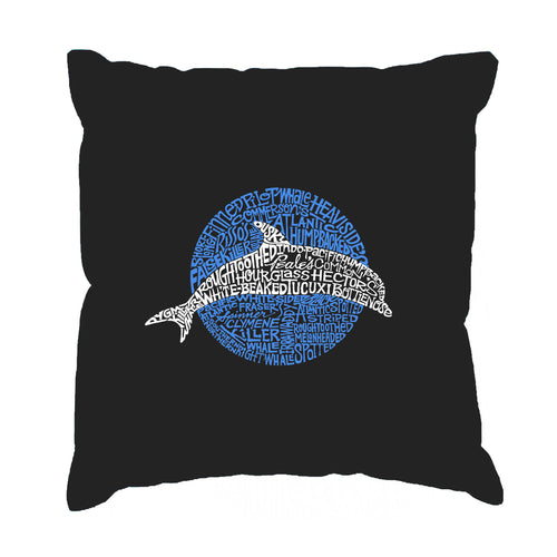 Throw Pillow Cover - Word Art - Species of Dolphin