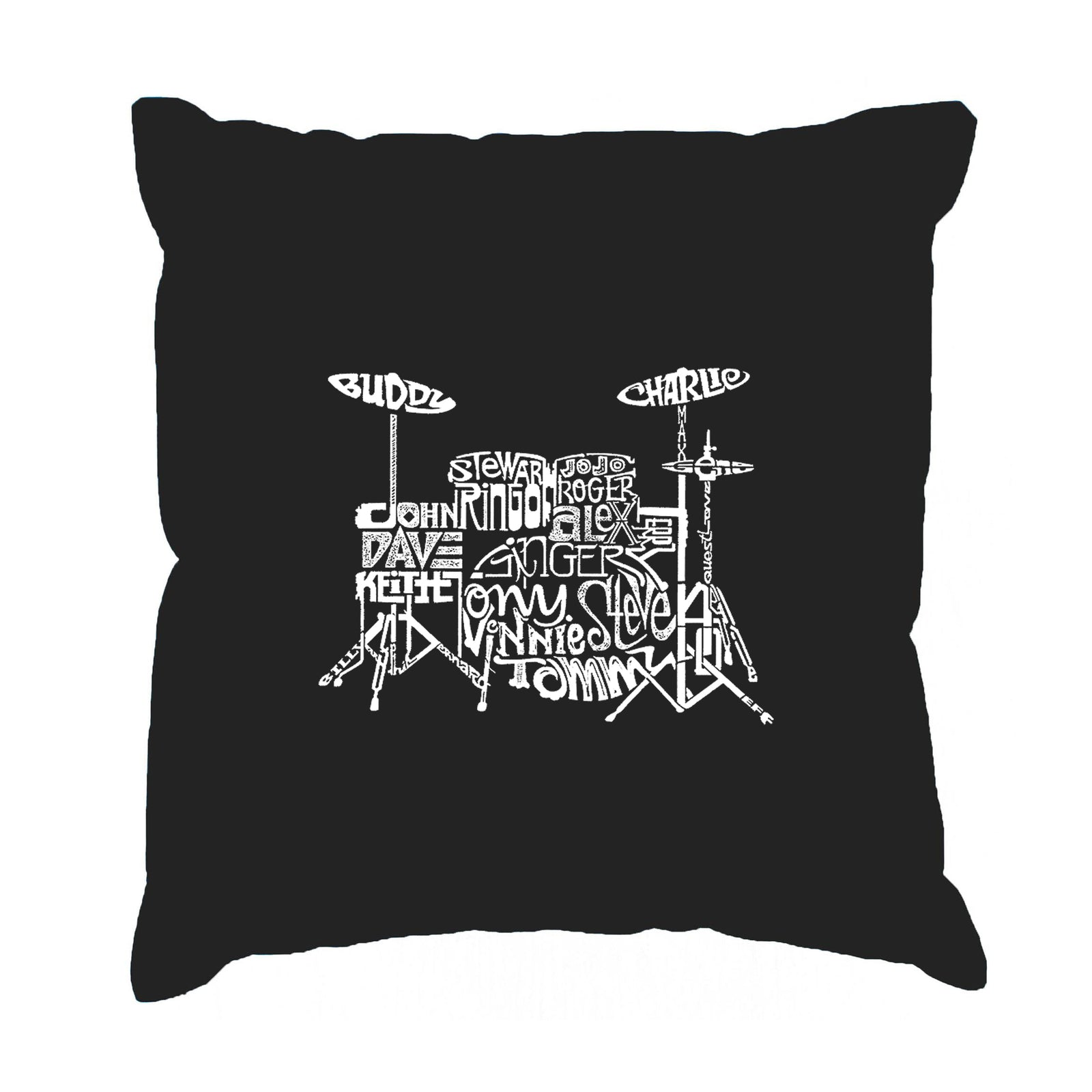 Throw Pillow Cover - Word Art - Drums