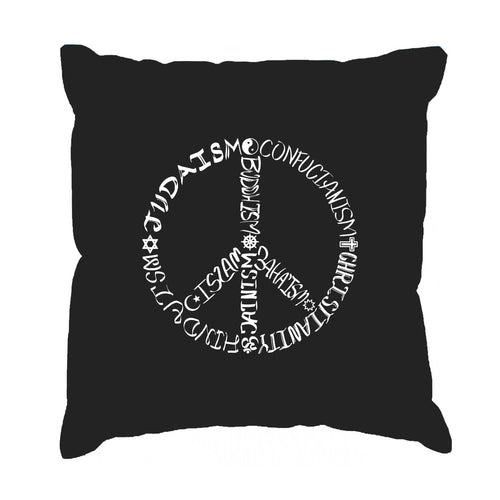 Los Angeles Pop Art Throw Pillow Cover - Different Faiths peace sign