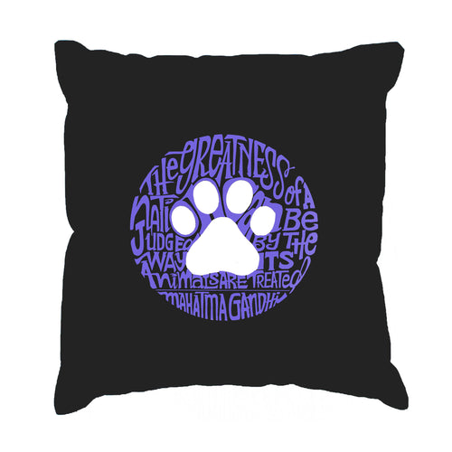 Throw Pillow Cover - Word Art - Gandhi's Quote on Animal Treatment