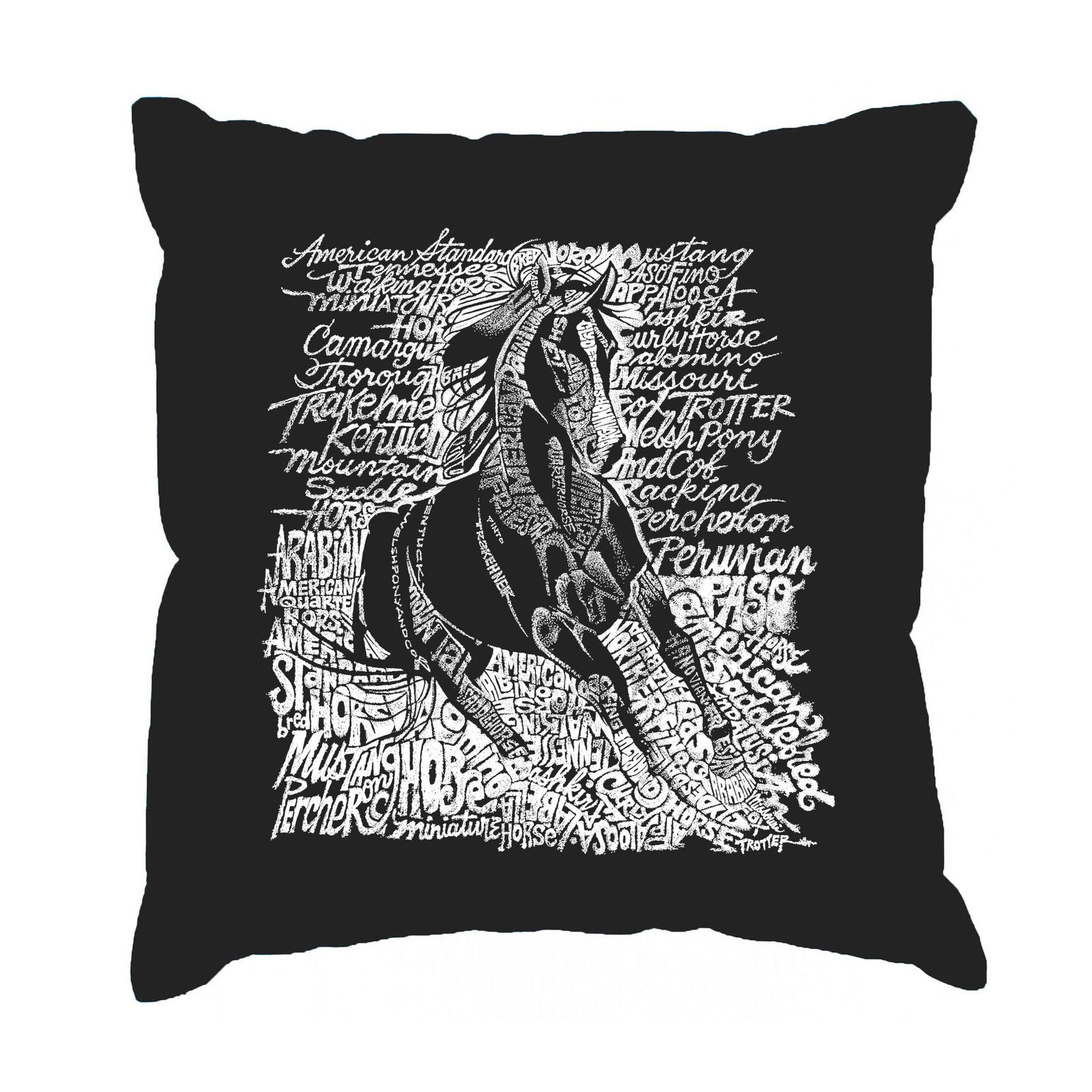 Throw Pillow Cover - POPULAR HORSE BREEDS