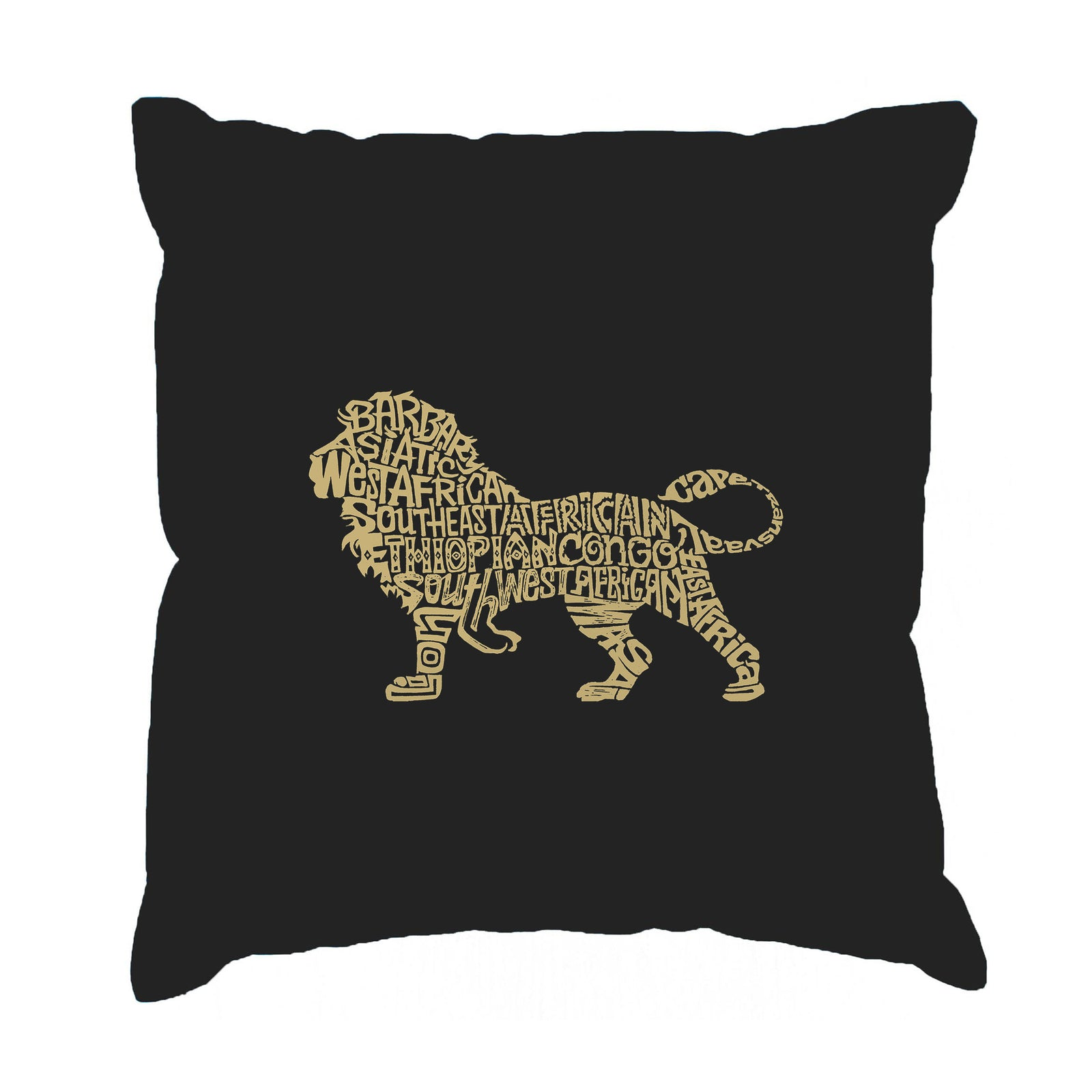 Throw Pillow Cover - Word Art - Lion