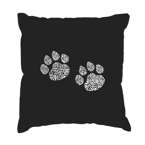 Throw Pillow Cover - Word Art - Meow Cat Prints