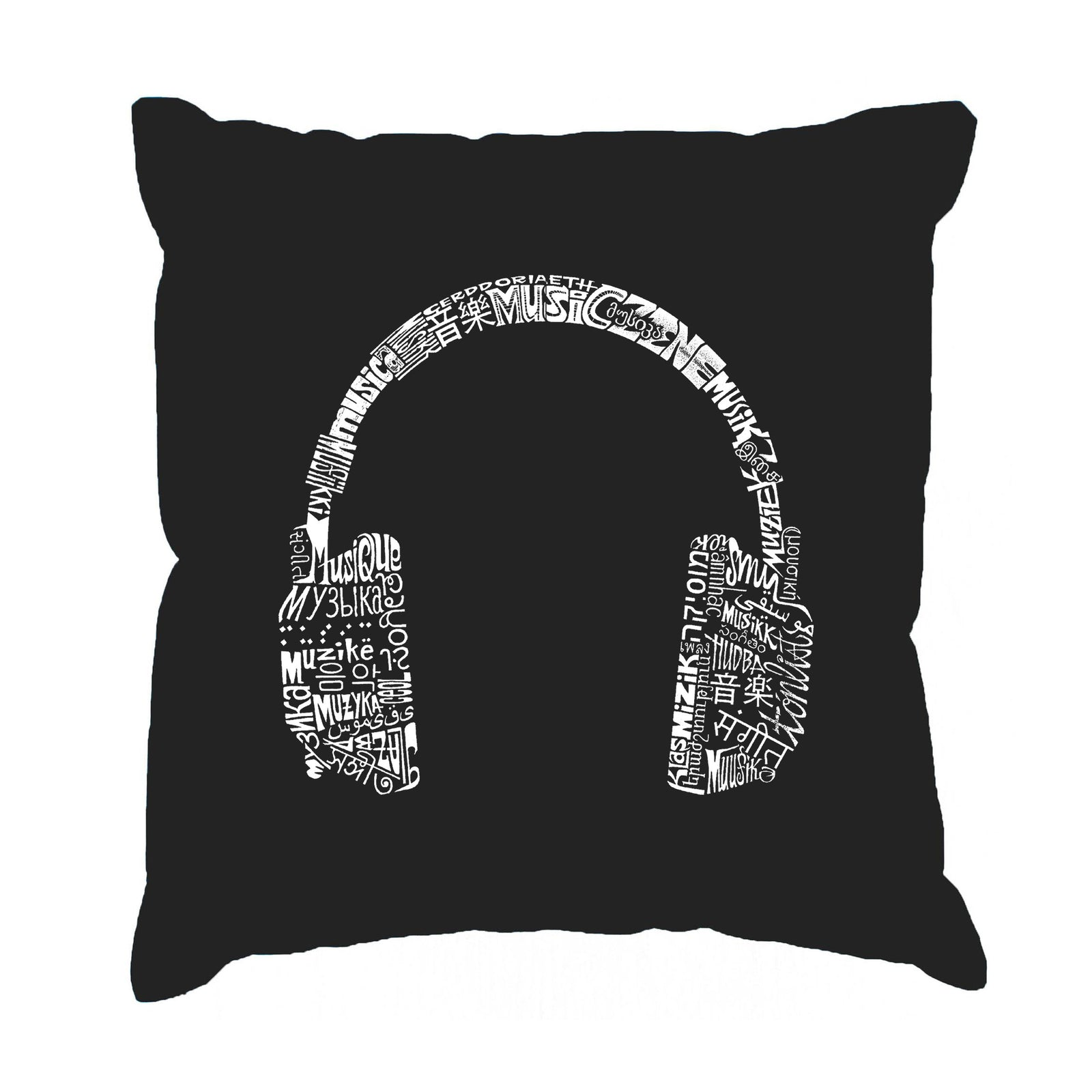Throw Pillow Cover - HEADPHONES - LANGUAGES