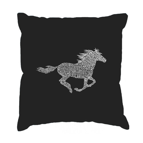 Throw Pillow Cover - Word Art - Horse Breeds