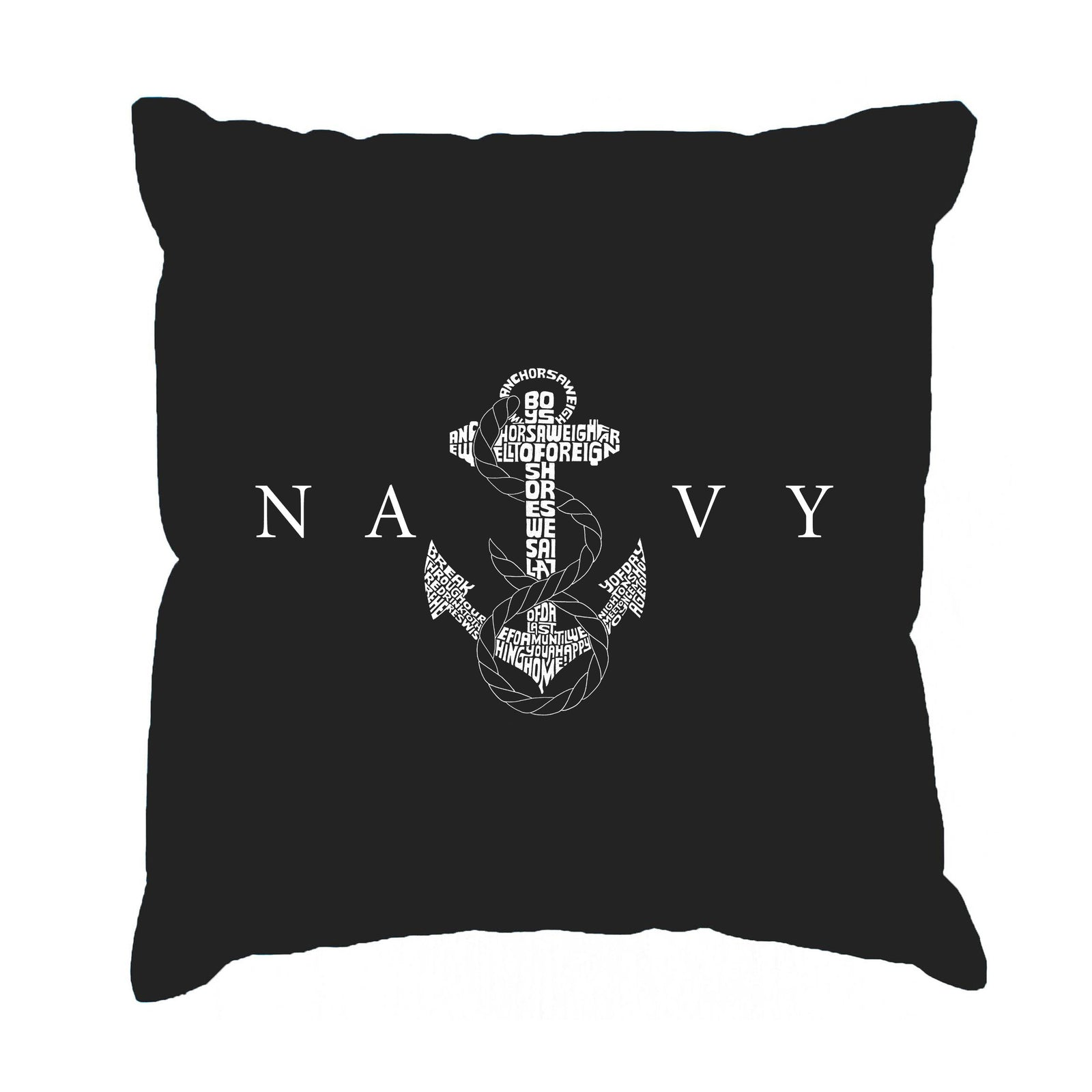 Throw Pillow Cover - LYRICS TO ANCHORS AWEIGH