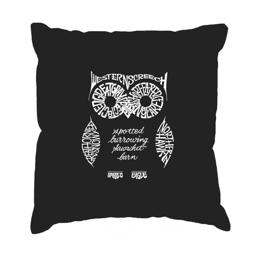 Los Angeles Pop Art Throw Pillow Cover - Owl