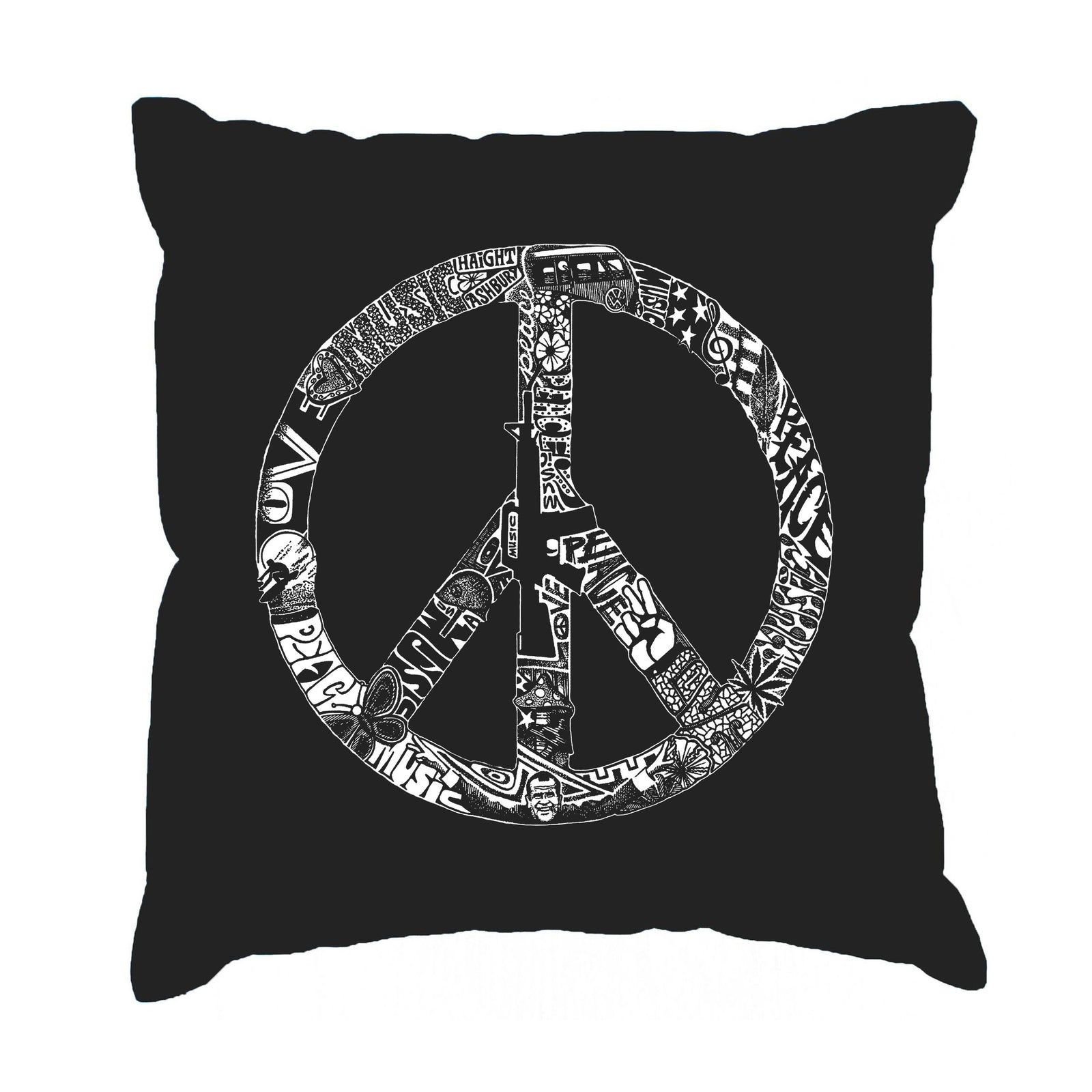 Throw Pillow Cover - PEACE, LOVE, & MUSIC