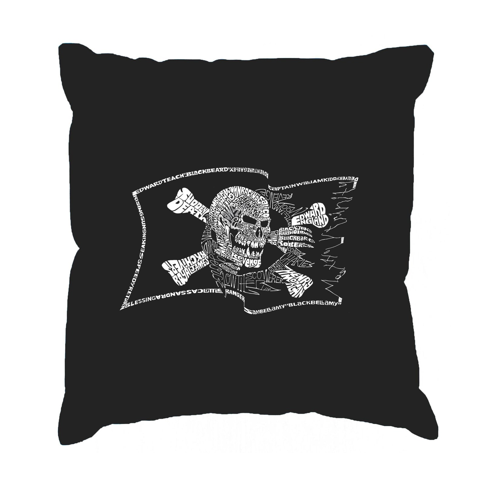 Throw Pillow Cover - FAMOUS PIRATE CAPTAINS AND SHIPS