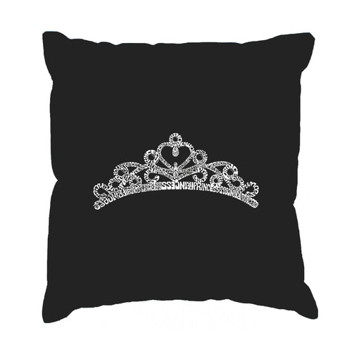 Los Angeles Pop Art Throw Pillow Cover - Princess Tiara