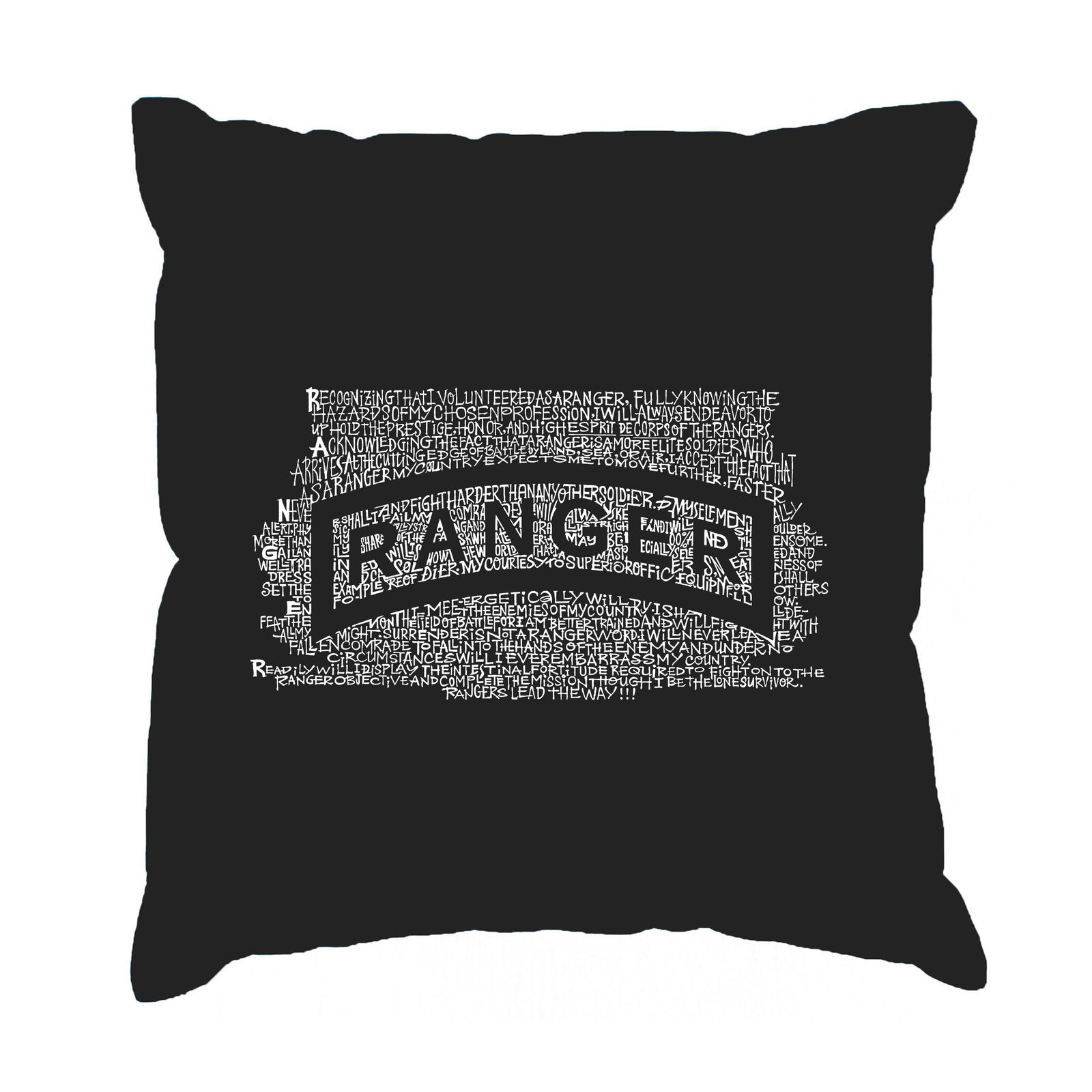 Throw Pillow Cover - The US Ranger Creed