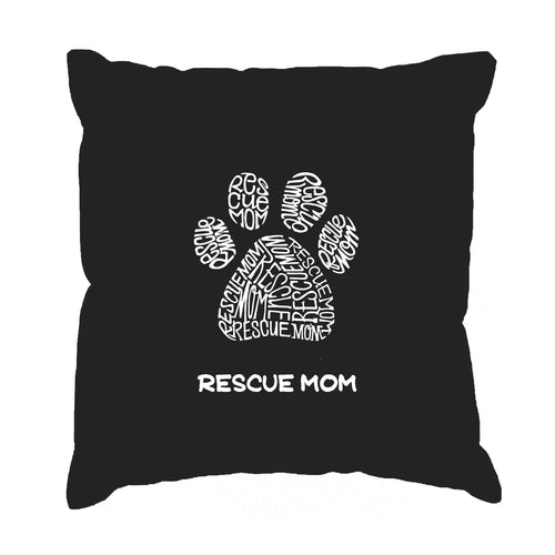 Throw Pillow Cover - Word Art - Rescue Mom