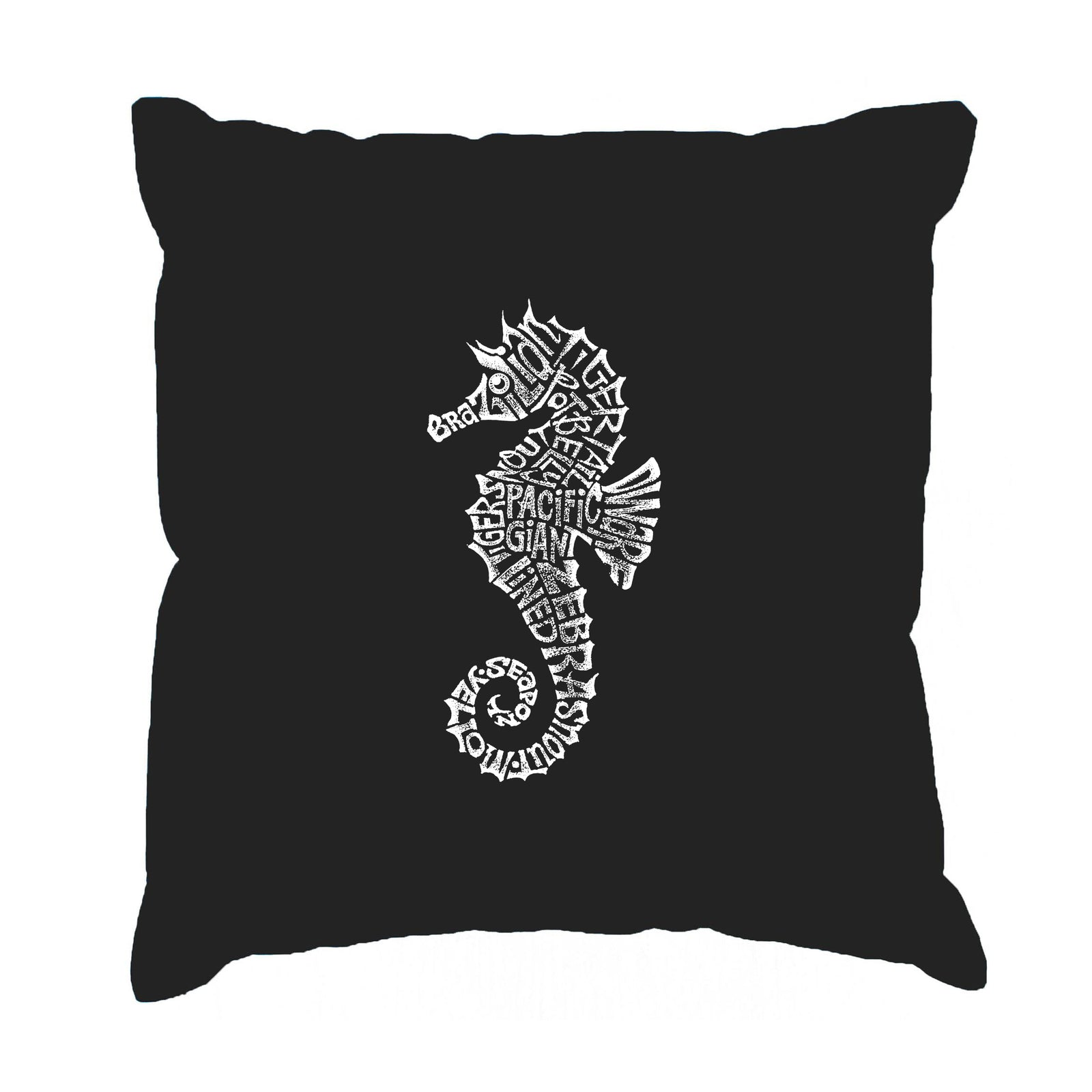 Throw Pillow Cover - Word Art - Types of Seahorse