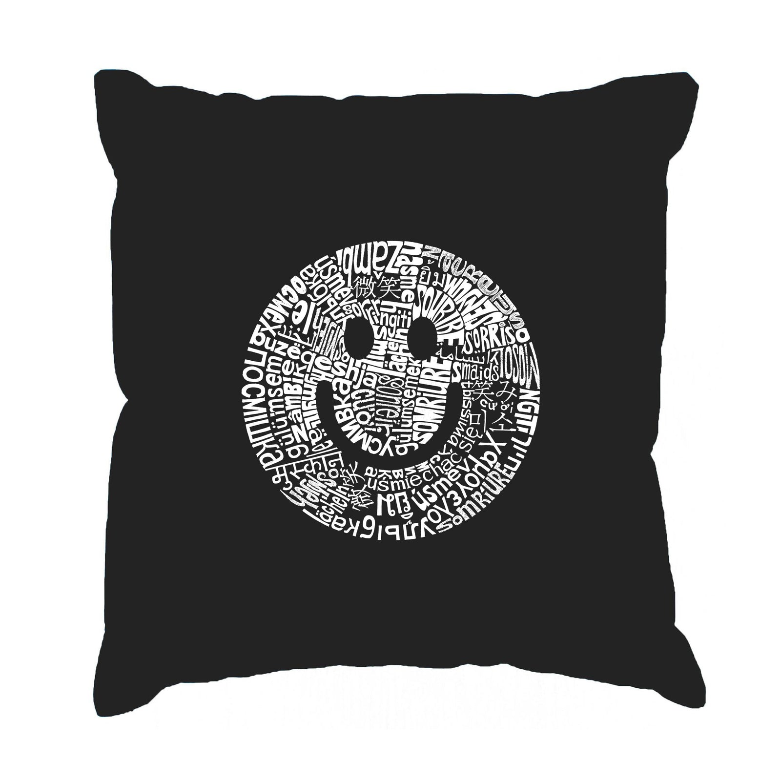 Throw Pillow Cover - SMILE IN DIFFERENT LANGUAGES