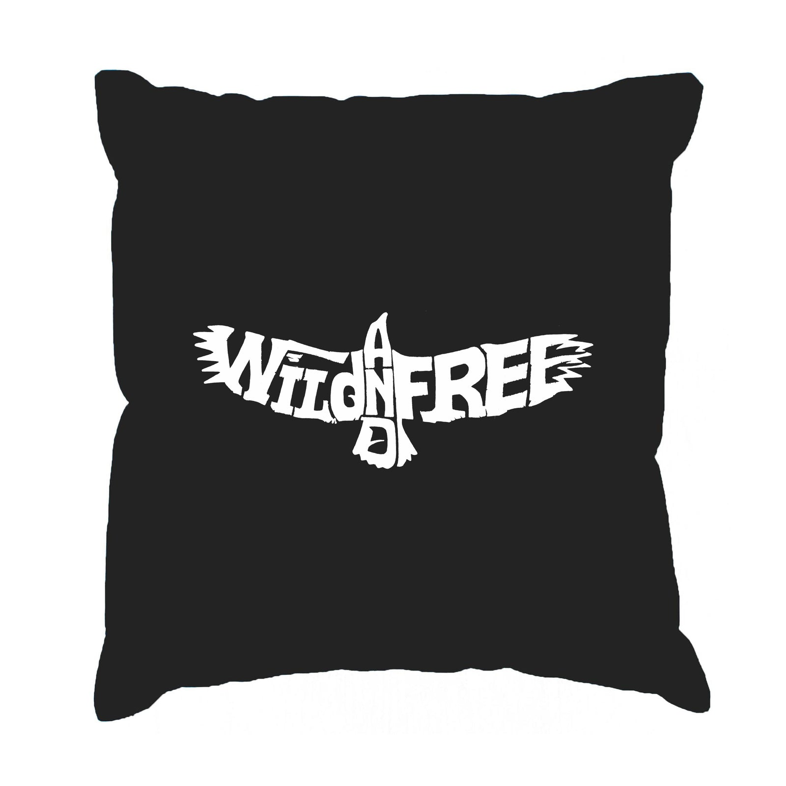 Throw Pillow Cover - Word Art - Wild and Free Eagle