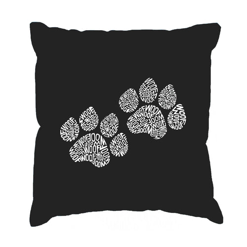 Los Angeles Pop Art Throw Pillow Cover - Woof Paw Prints
