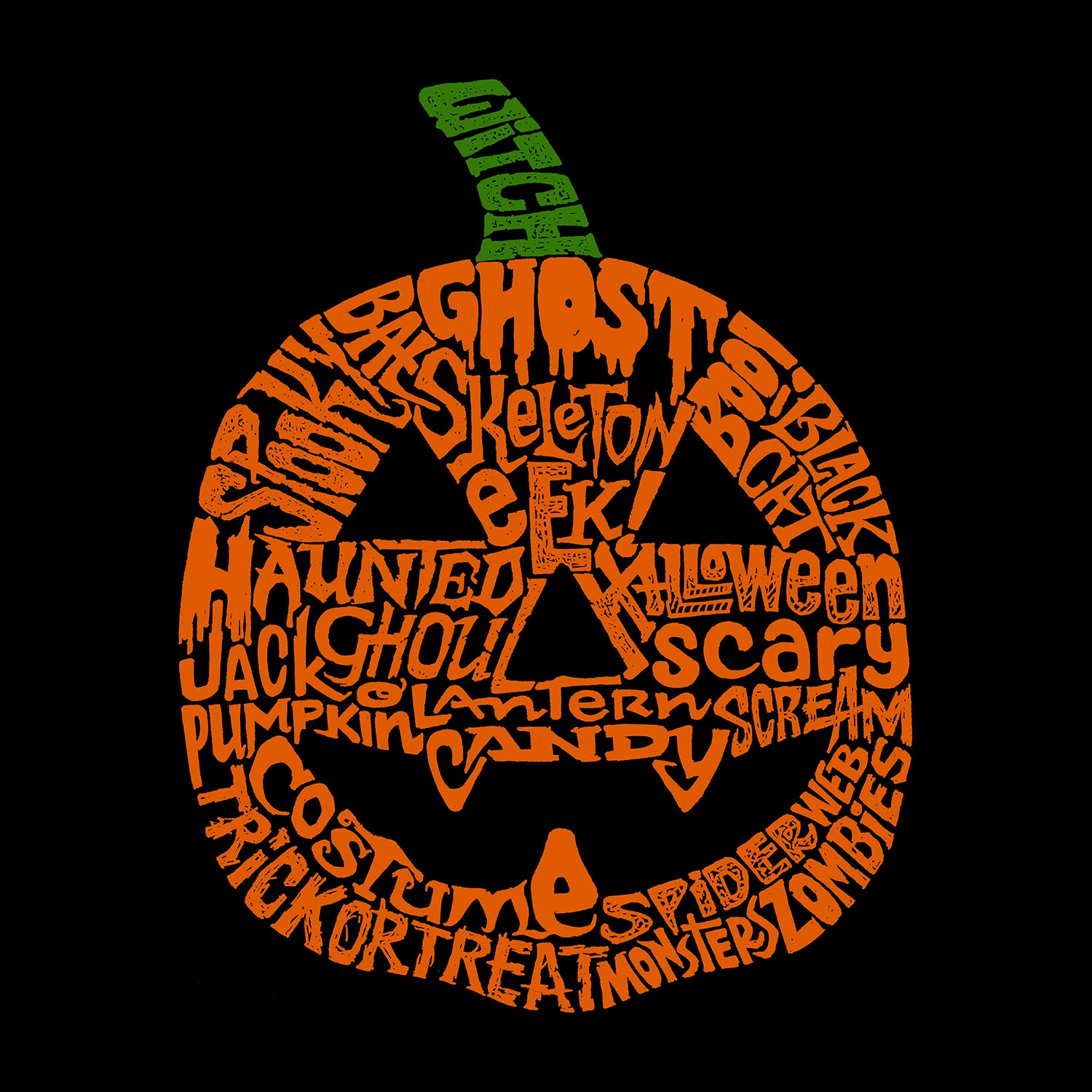 Women's Word Art Long Sleeve T-Shirt - Halloween Pumpkin