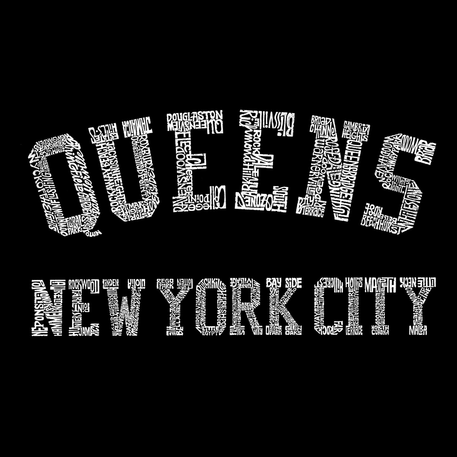 Women's Premium Blend Word Art T-shirt - POPULAR NEIGHBORHOODS IN QUEENS, NY
